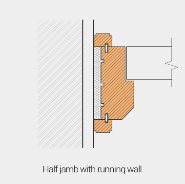 Half jamb with running wall